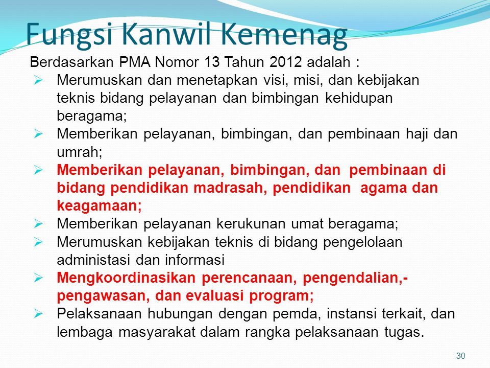 Fungsi Kanwil Kemenag Berdasarkan PMA Nomor 13 Tahun 2012 adalah :