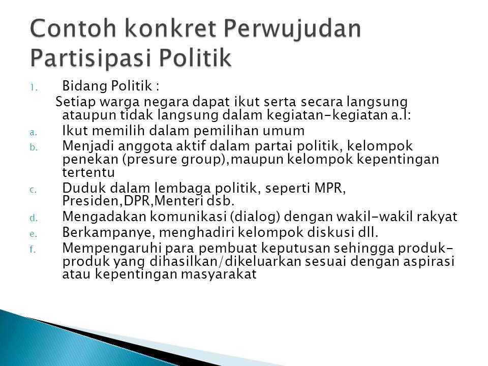 Contoh konkret Perwujudan Partisipasi Politik