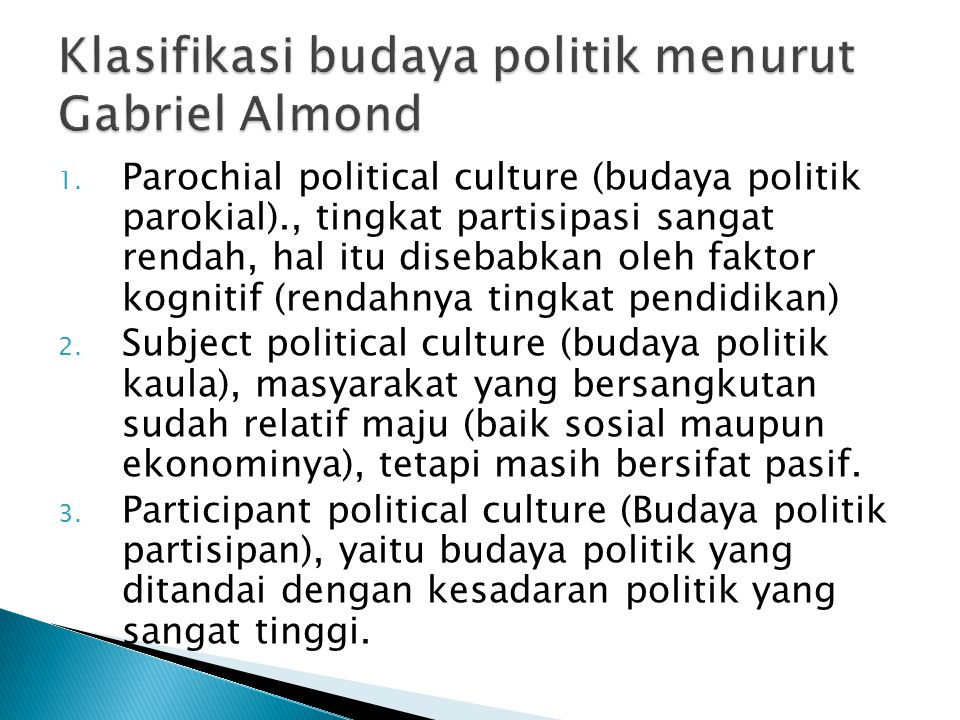 Klasifikasi budaya politik menurut Gabriel Almond