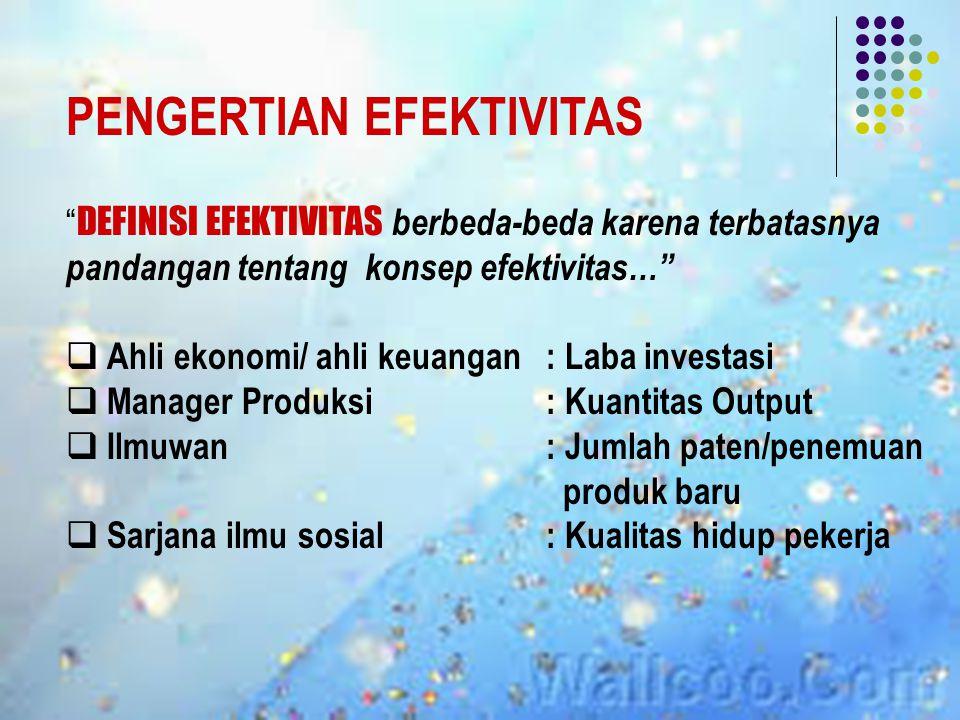 PENGERTIAN EFEKTIVITAS