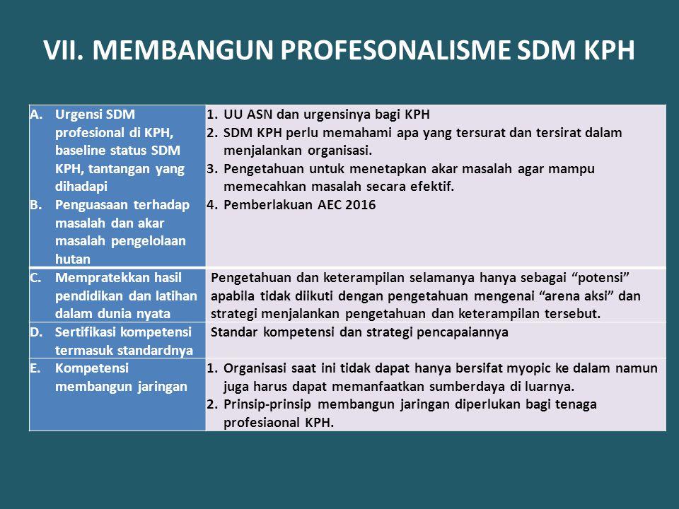 VII. MEMBANGUN PROFESONALISME SDM KPH