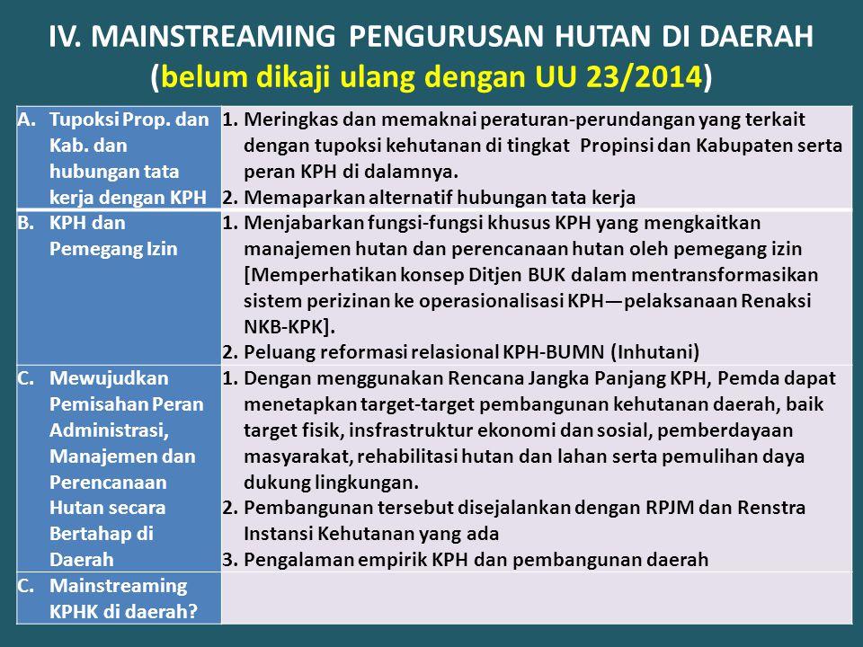 IV. MAINSTREAMING PENGURUSAN HUTAN DI DAERAH (belum dikaji ulang dengan UU 23/2014)