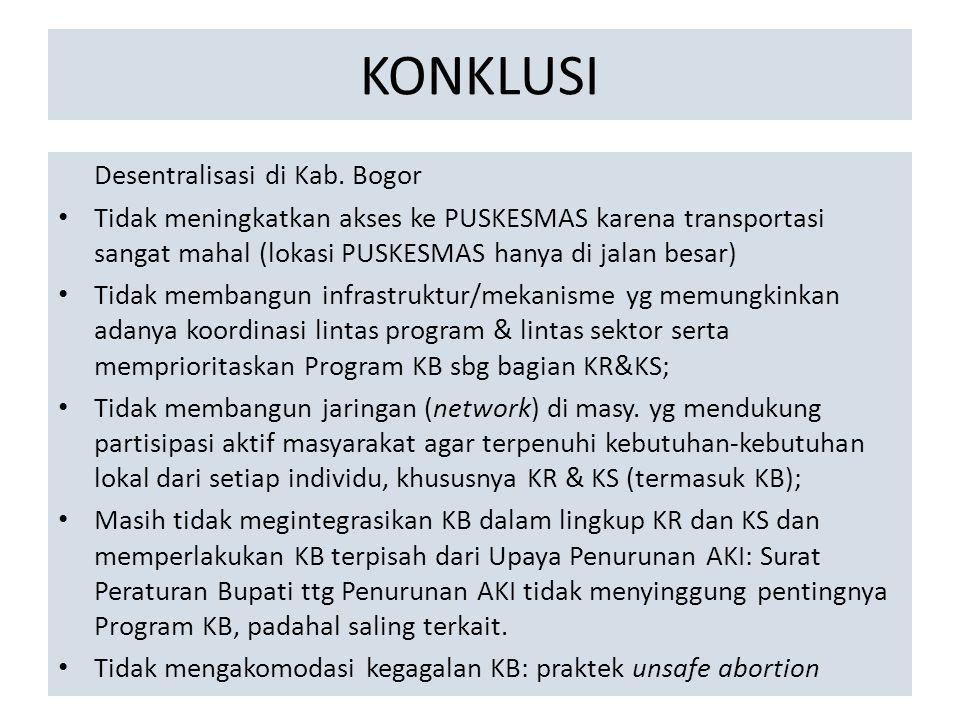 KONKLUSI Desentralisasi di Kab. Bogor