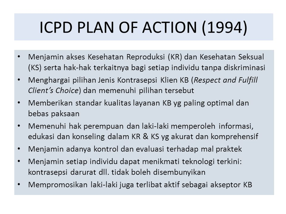 ICPD PLAN OF ACTION (1994)