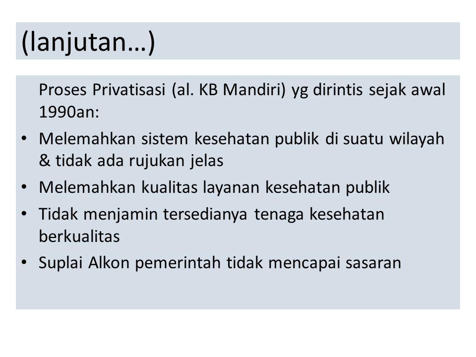 (lanjutan…) Proses Privatisasi (al. KB Mandiri) yg dirintis sejak awal 1990an: