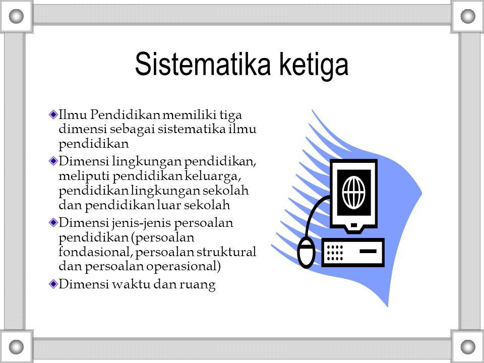 Sistematika ketiga Ilmu Pendidikan memiliki tiga dimensi sebagai sistematika ilmu pendidikan.