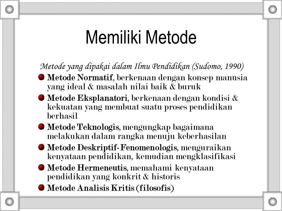 Metode yang dipakai dalam Ilmu Pendidikan (Sudomo, 1990)
