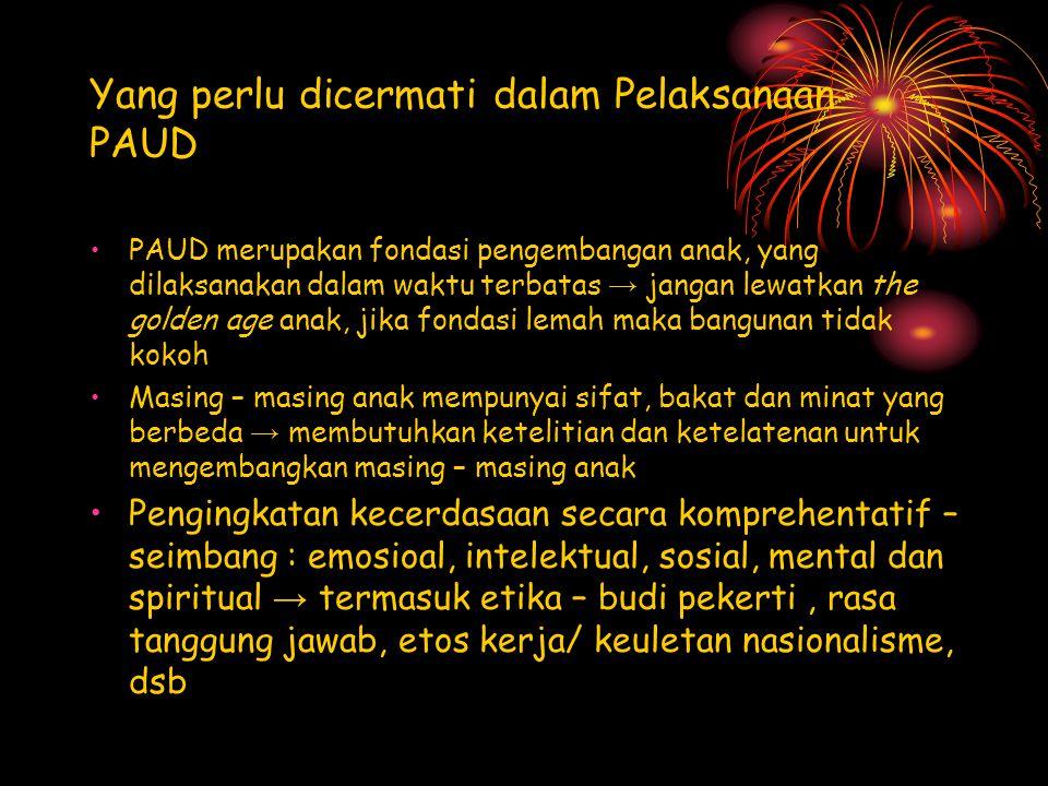 Yang perlu dicermati dalam Pelaksanaan PAUD
