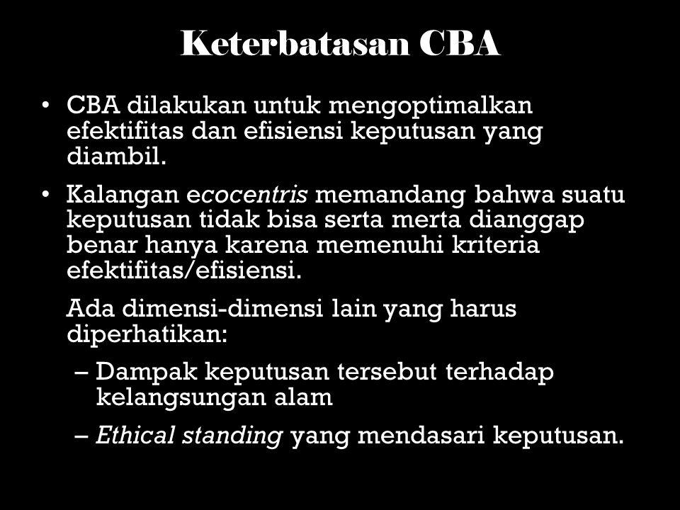 Keterbatasan CBA CBA dilakukan untuk mengoptimalkan efektifitas dan efisiensi keputusan yang diambil.