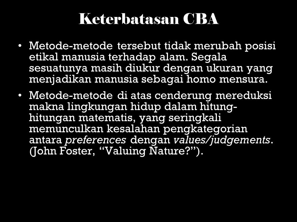Keterbatasan CBA