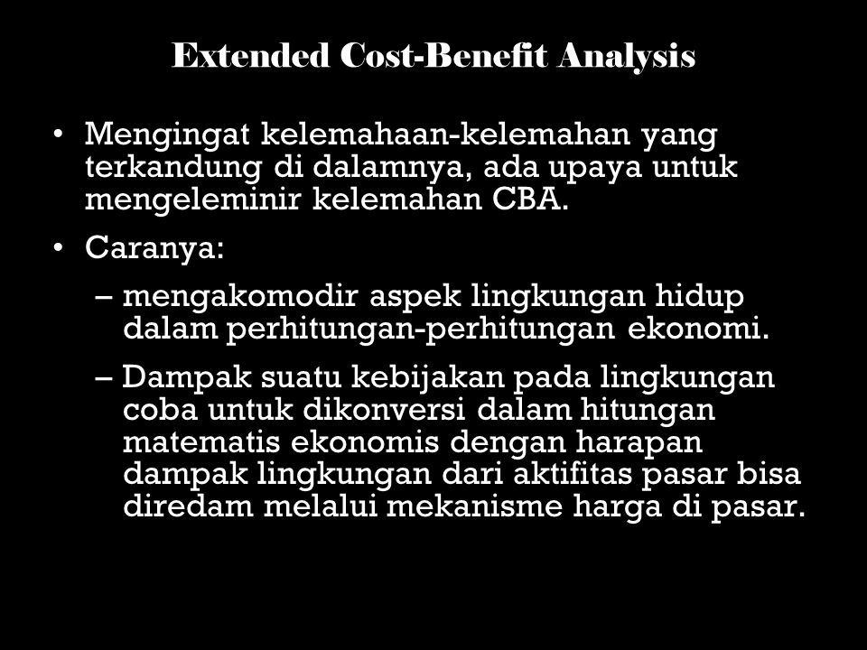 Extended Cost-Benefit Analysis
