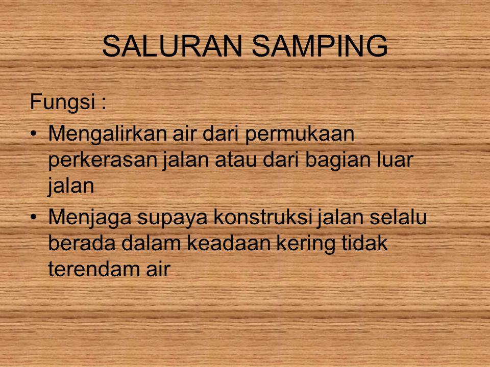 SALURAN SAMPING Fungsi :