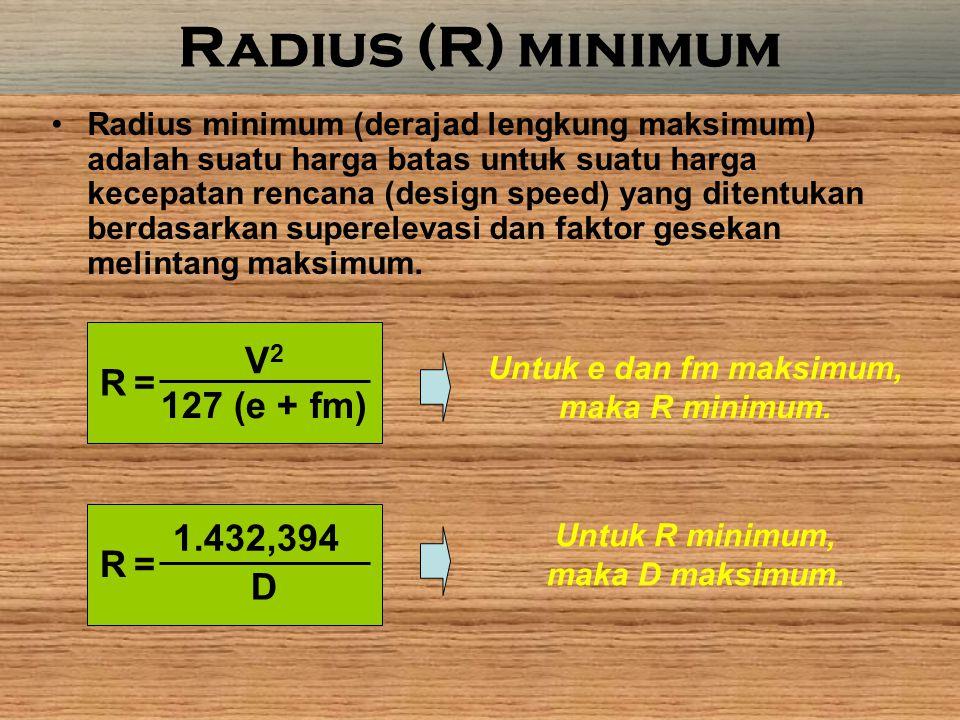 Radius (R) minimum V2 R = 127 (e + fm) 1.432,394 R = D