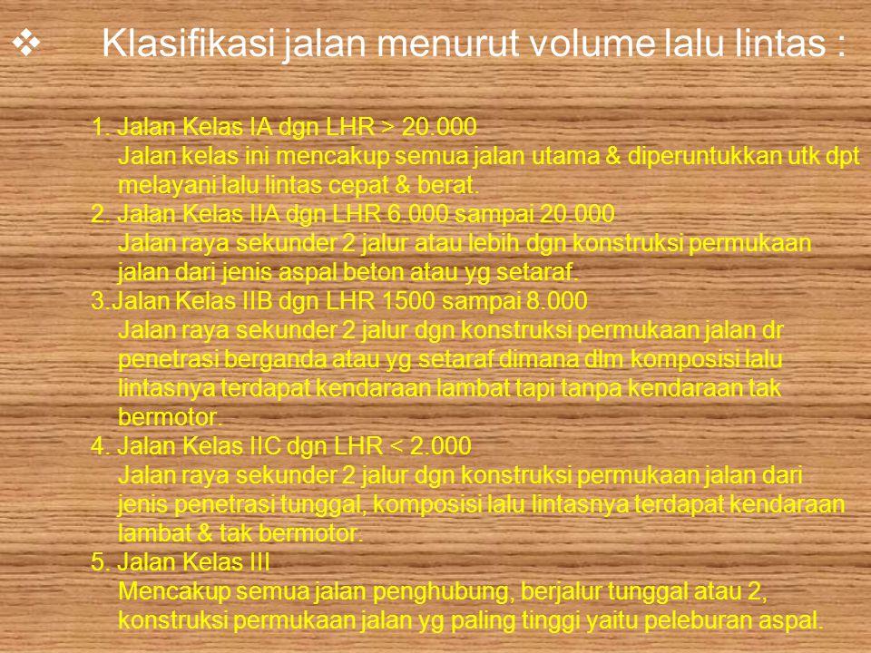 Klasifikasi jalan menurut volume lalu lintas : 1