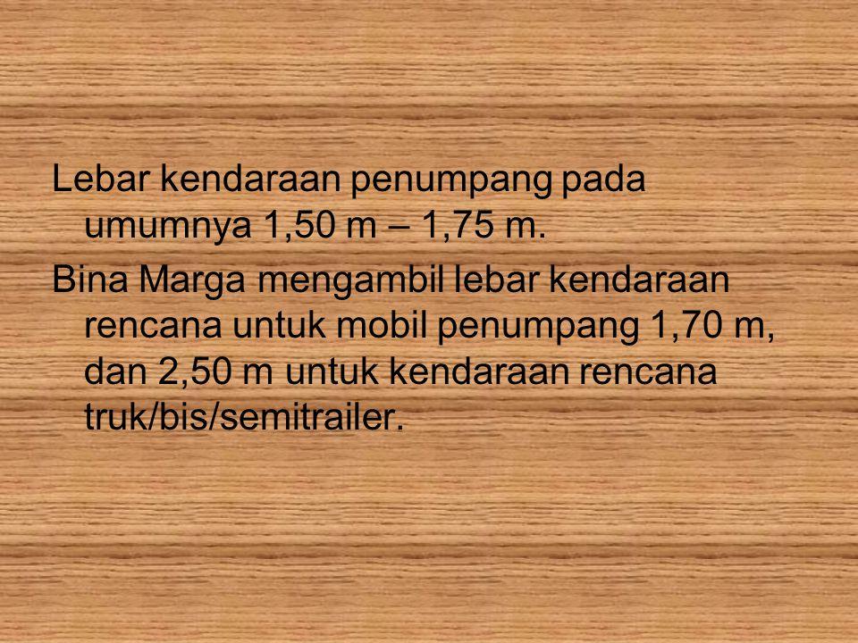 Lebar kendaraan penumpang pada umumnya 1,50 m – 1,75 m.