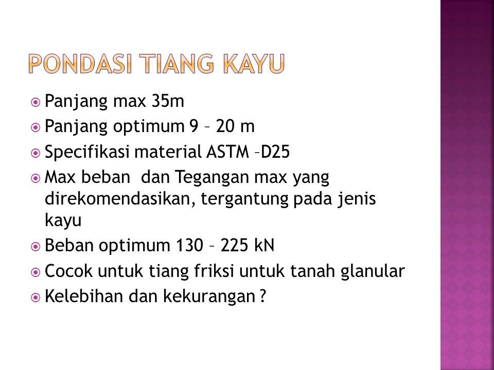 Pondasi Tiang Kayu Panjang max 35m Panjang optimum 9 – 20 m