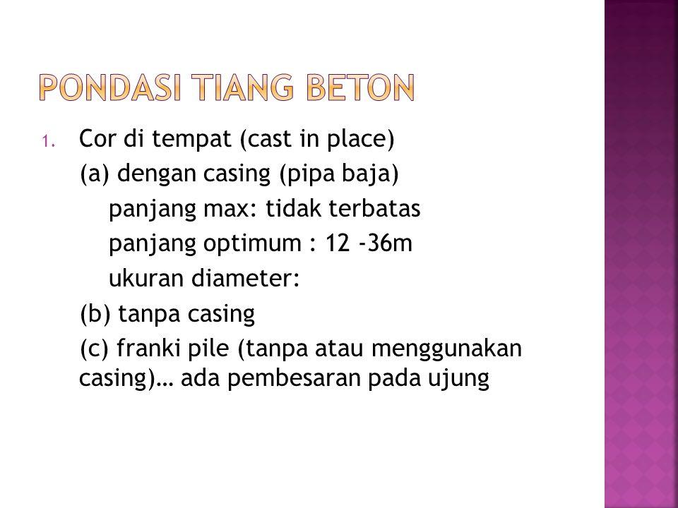 Pondasi Tiang Beton Cor di tempat (cast in place)