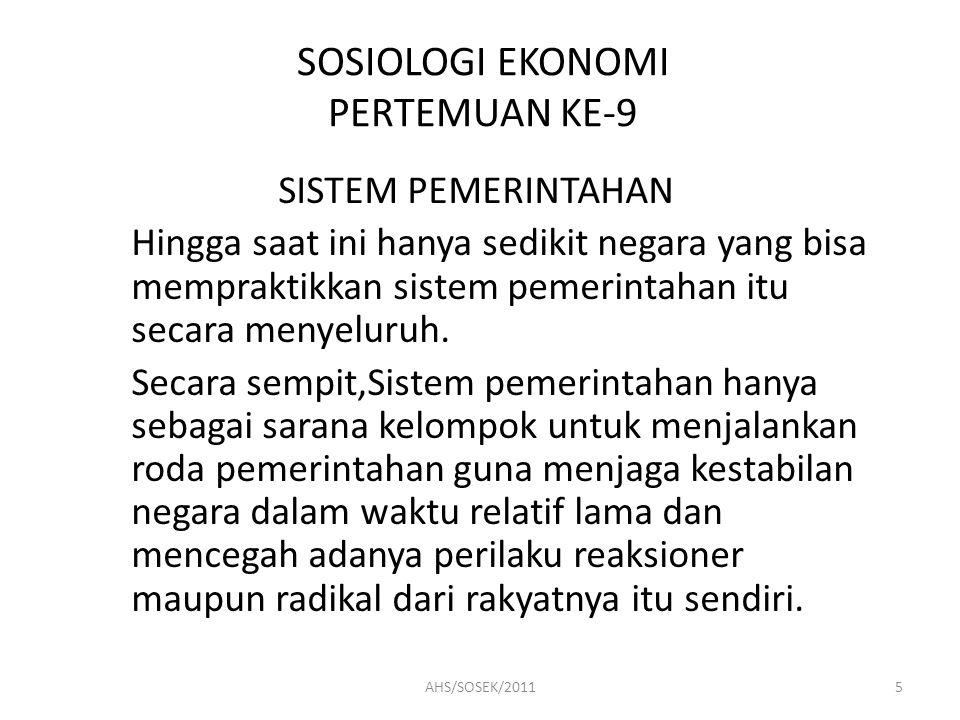 SOSIOLOGI EKONOMI PERTEMUAN KE-9