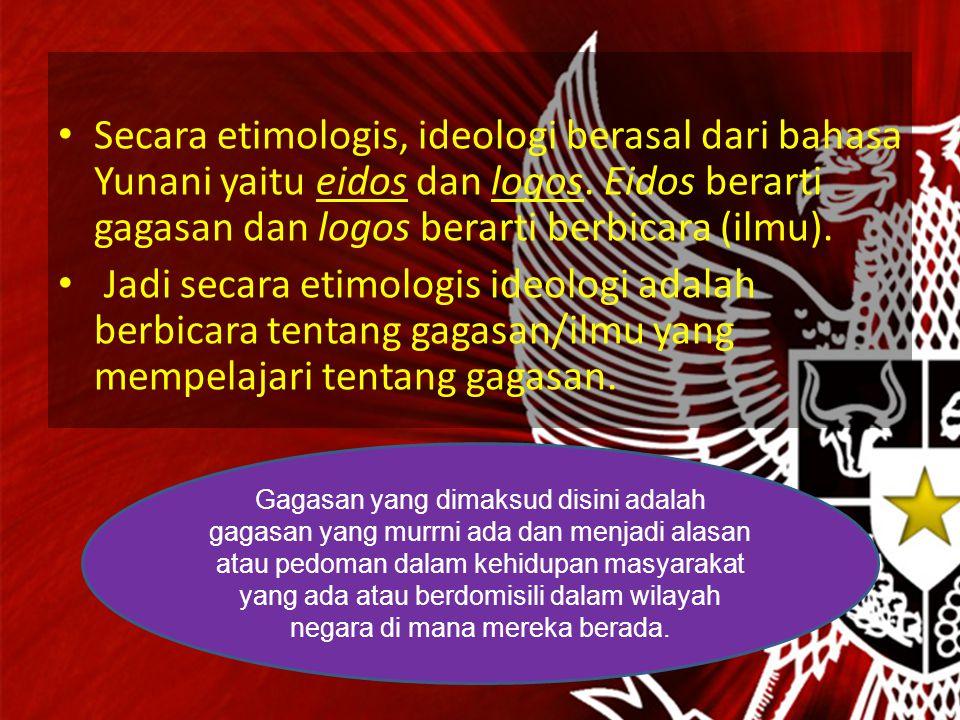 Secara etimologis, ideologi berasal dari bahasa Yunani yaitu eidos dan logos. Eidos berarti gagasan dan logos berarti berbicara (ilmu).