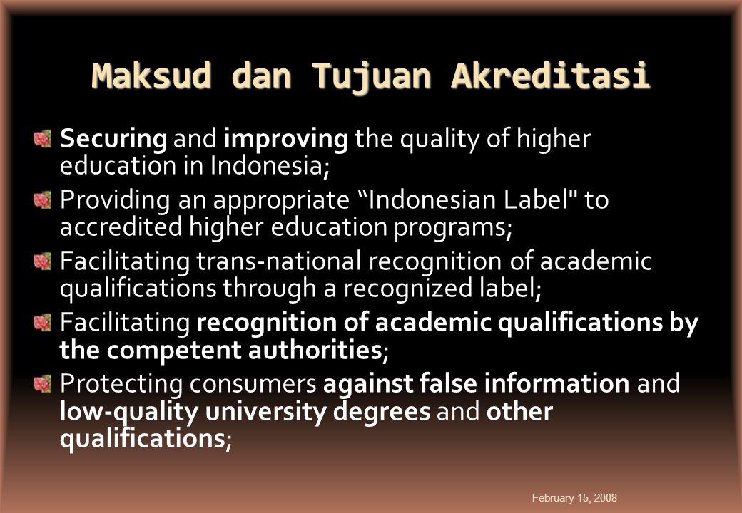 Maksud dan Tujuan Akreditasi