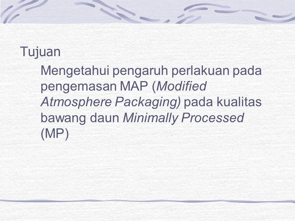 Tujuan Mengetahui pengaruh perlakuan pada pengemasan MAP (Modified Atmosphere Packaging) pada kualitas bawang daun Minimally Processed (MP)
