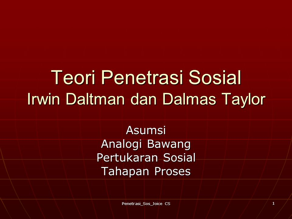 Teori Penetrasi Sosial Irwin Daltman dan Dalmas Taylor