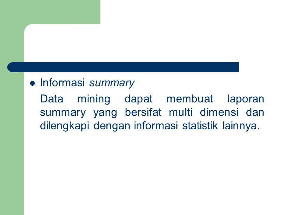 Informasi summary Data mining dapat membuat laporan summary yang bersifat multi dimensi dan dilengkapi dengan informasi statistik lainnya.