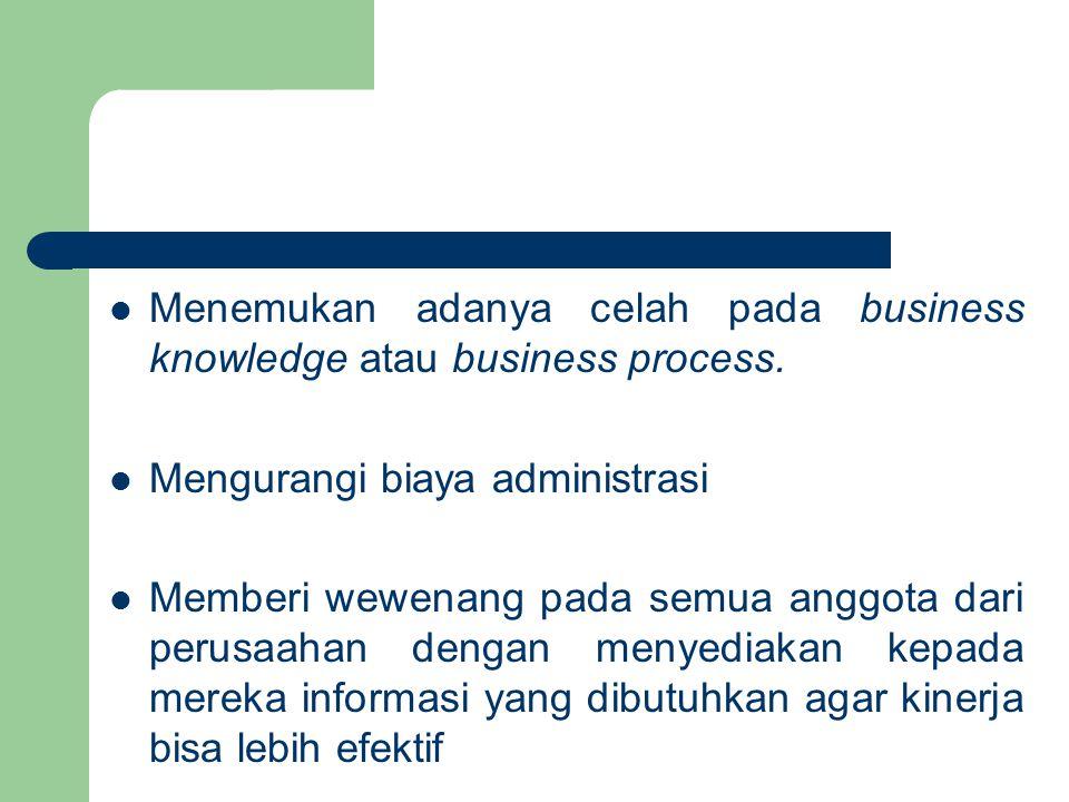 Menemukan adanya celah pada business knowledge atau business process.