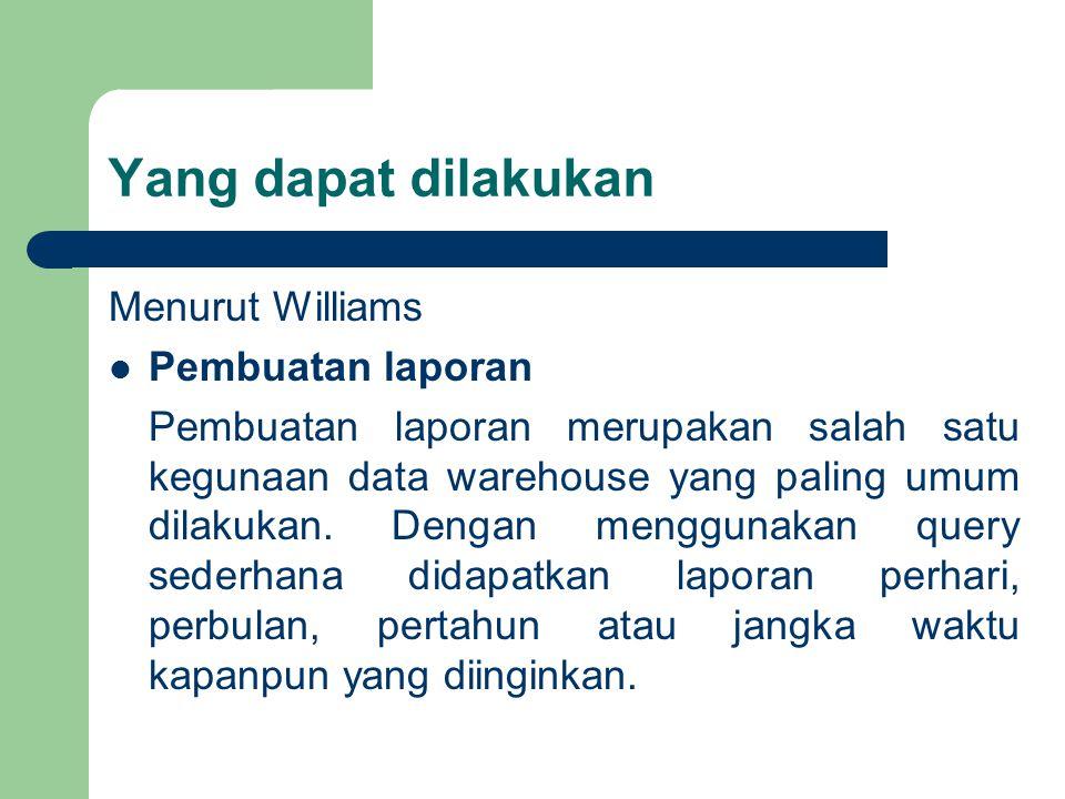 Yang dapat dilakukan Menurut Williams Pembuatan laporan