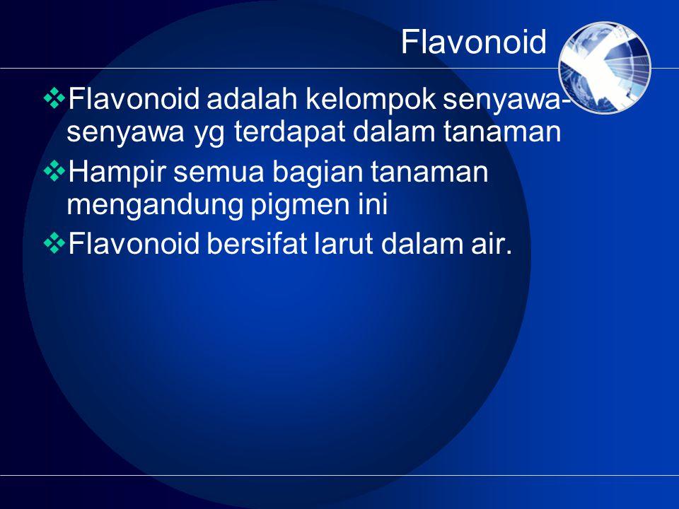 Flavonoid Flavonoid adalah kelompok senyawa-senyawa yg terdapat dalam tanaman. Hampir semua bagian tanaman mengandung pigmen ini.