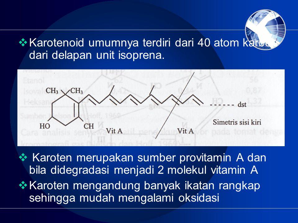 Karotenoid umumnya terdiri dari 40 atom karbon dari delapan unit isoprena.
