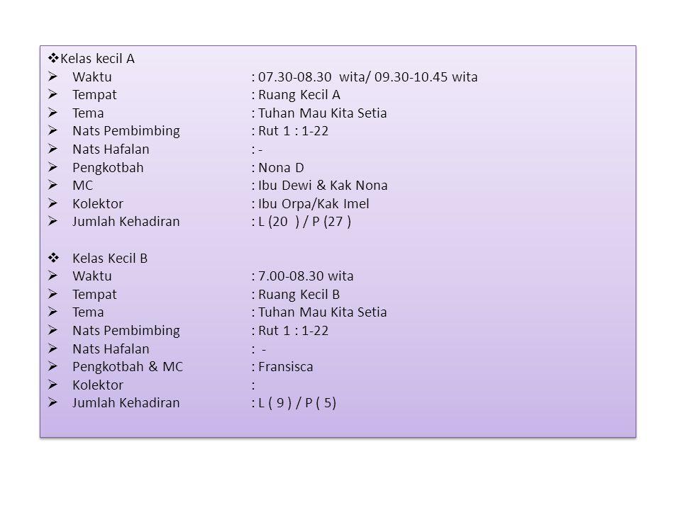 Kelas kecil A Waktu : 07.30-08.30 wita/ 09.30-10.45 wita. Tempat : Ruang Kecil A. Tema : Tuhan Mau Kita Setia.