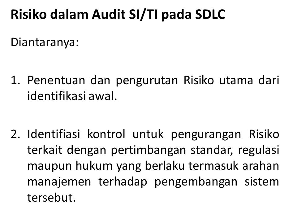 Risiko dalam Audit SI/TI pada SDLC