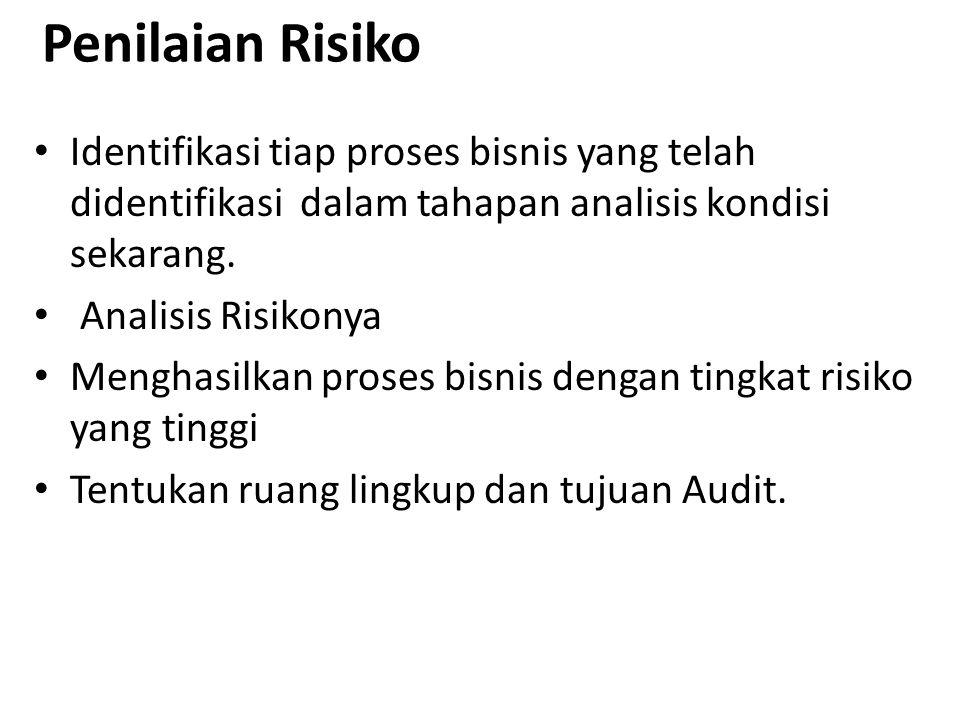 Penilaian Risiko Identifikasi tiap proses bisnis yang telah didentifikasi dalam tahapan analisis kondisi sekarang.