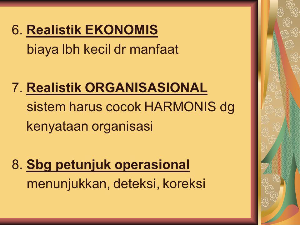6. Realistik EKONOMIS biaya lbh kecil dr manfaat. 7. Realistik ORGANISASIONAL. sistem harus cocok HARMONIS dg.