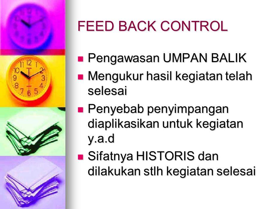 FEED BACK CONTROL Pengawasan UMPAN BALIK