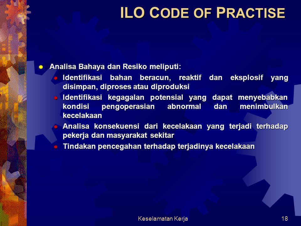 ILO CODE OF PRACTISE Analisa Bahaya dan Resiko meliputi: