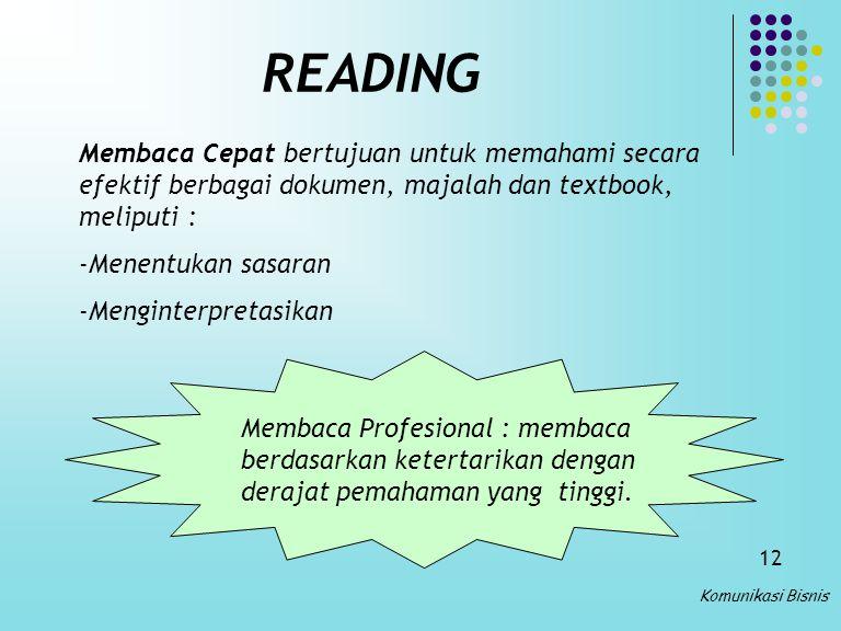 READING Membaca Cepat bertujuan untuk memahami secara efektif berbagai dokumen, majalah dan textbook, meliputi :