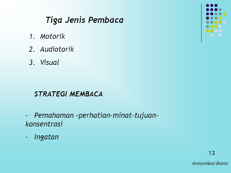 Tiga Jenis Pembaca Motorik Audiotorik Visual STRATEGI MEMBACA