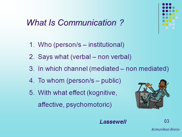 What Is Communication Who (person/s – institutional)