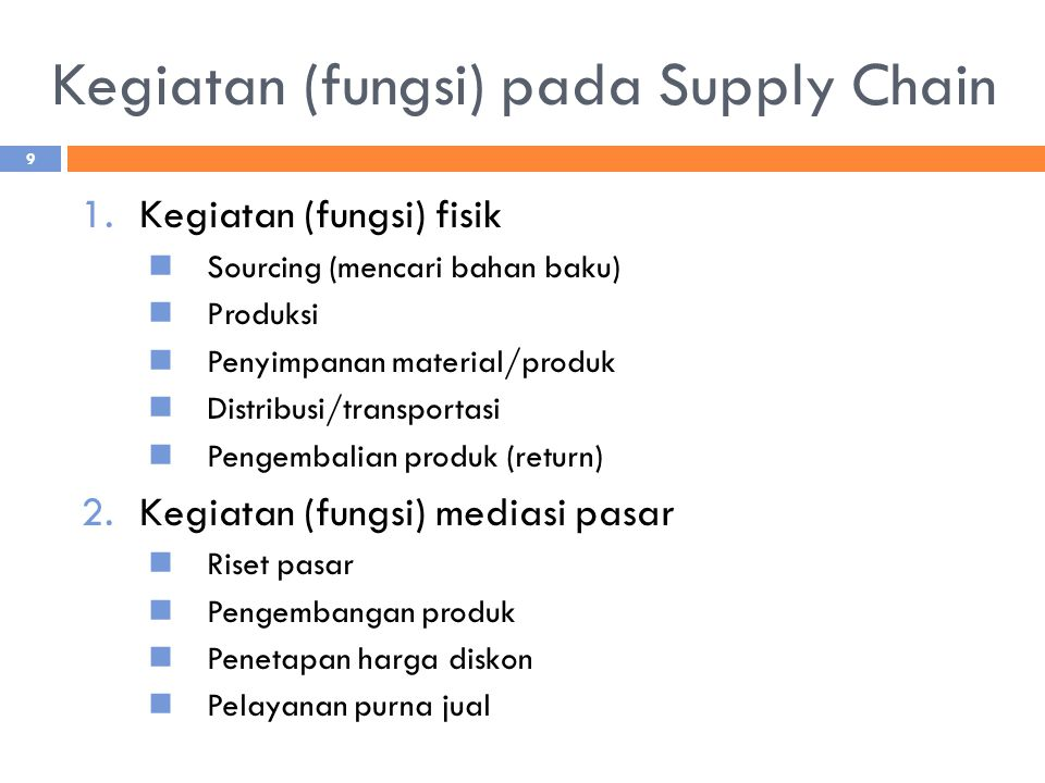 Kegiatan (fungsi) pada Supply Chain