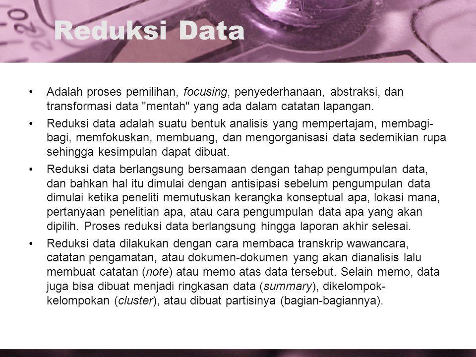 Reduksi Data Adalah proses pemilihan, focusing, penyederhanaan, abstraksi, dan transformasi data mentah yang ada dalam catatan lapangan.
