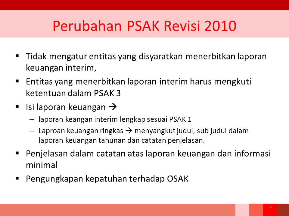 Perubahan PSAK Revisi 2010 Tidak mengatur entitas yang disyaratkan menerbitkan laporan keuangan interim,