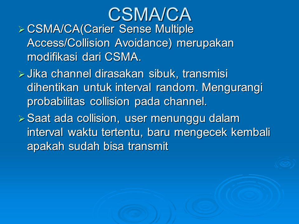 CSMA/CA CSMA/CA(Carier Sense Multiple Access/Collision Avoidance) merupakan modifikasi dari CSMA.