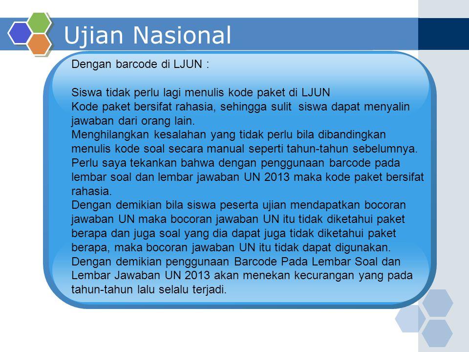 Ujian Nasional Dengan barcode di LJUN :