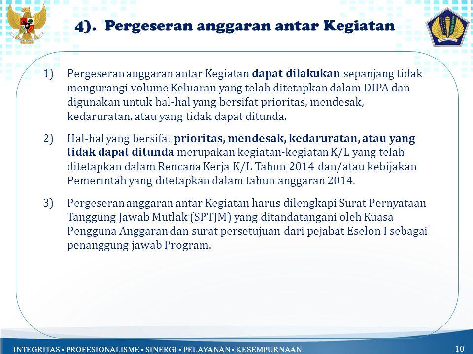 4). Pergeseran anggaran antar Kegiatan