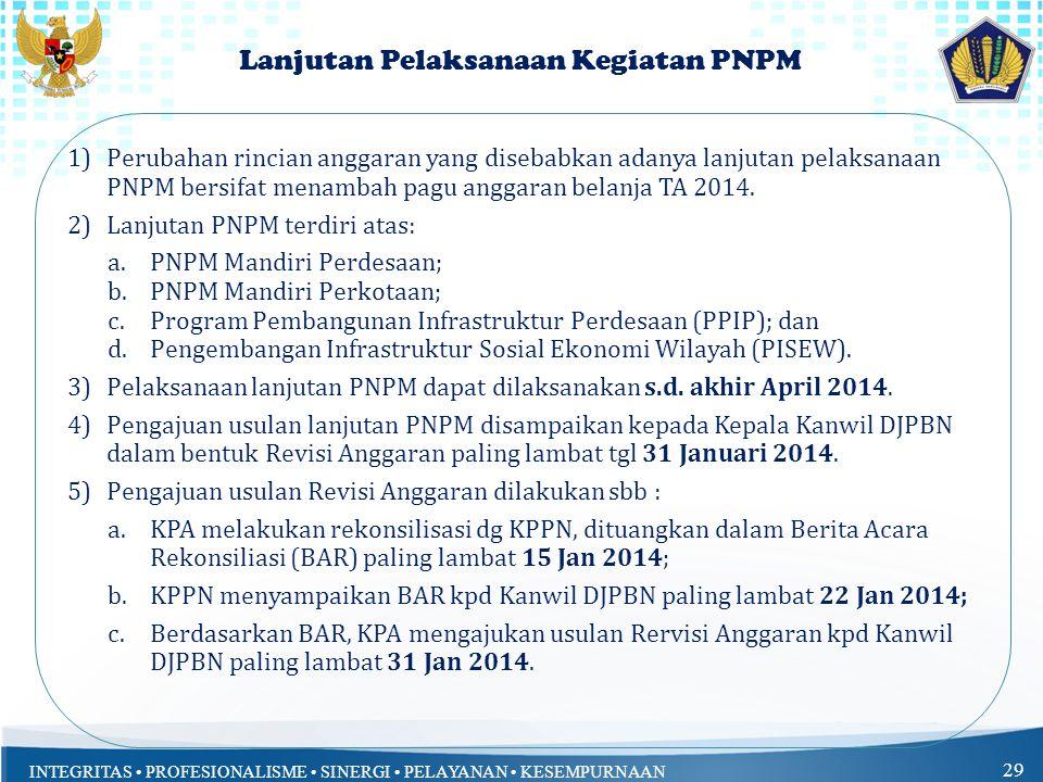 Lanjutan Pelaksanaan Kegiatan PNPM