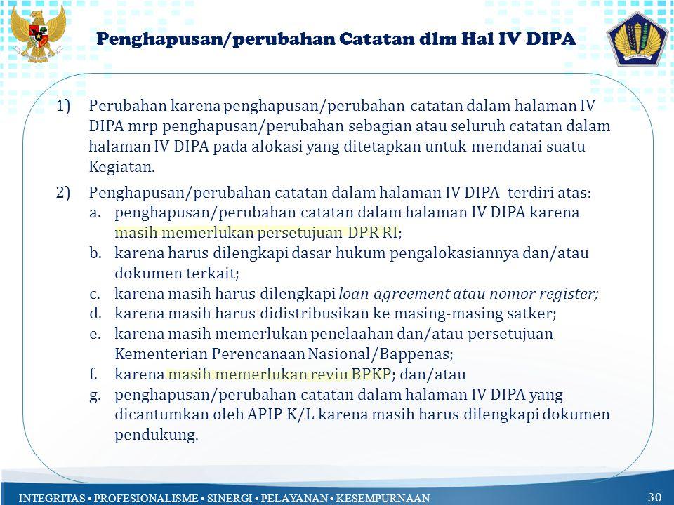 Penghapusan/perubahan Catatan dlm Hal IV DIPA