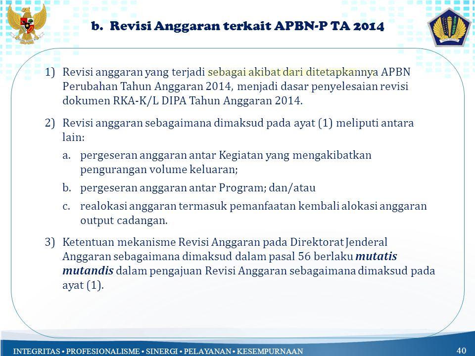 b. Revisi Anggaran terkait APBN-P TA 2014