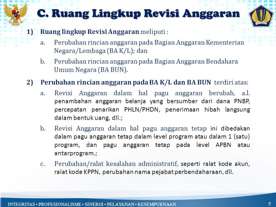 C. Ruang Lingkup Revisi Anggaran